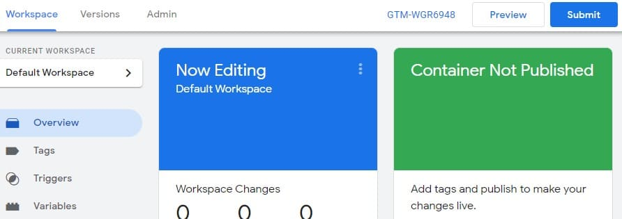 Submit container Google Tag Manager